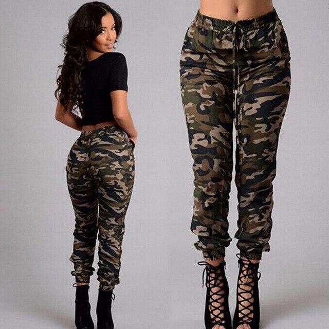 d2d9e8a904a 2017 Autumn Army Cargo Pants Women Camouflage Printed Trousers Military  Elastic Waist Pants Plus Size S-XL
