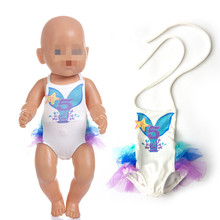 Fit 18 inch 40-43cm Doll Clothes Born New Baby digital salmon swimsuit Mermaid accessories For Gift