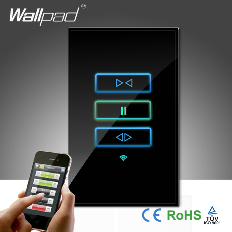 High-End Wallpad Black Glass AU US 120 110~250V 3 Gang Wireless Wifi Remote Curtain Control WIFI Wall Switch,Free Shipping цена