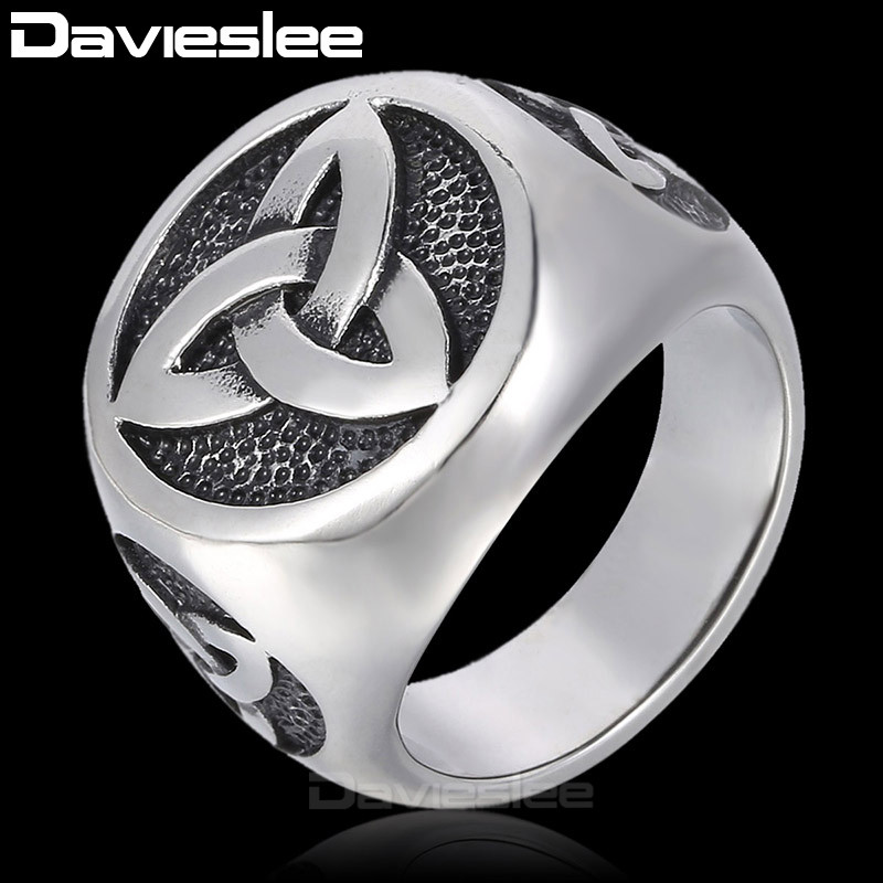 Davieslee 24mm 316L Stainless Steel Ring Vintage Engraved Knot Black Silver Tone Signet Ring Mens Fashion Ring DLHR319