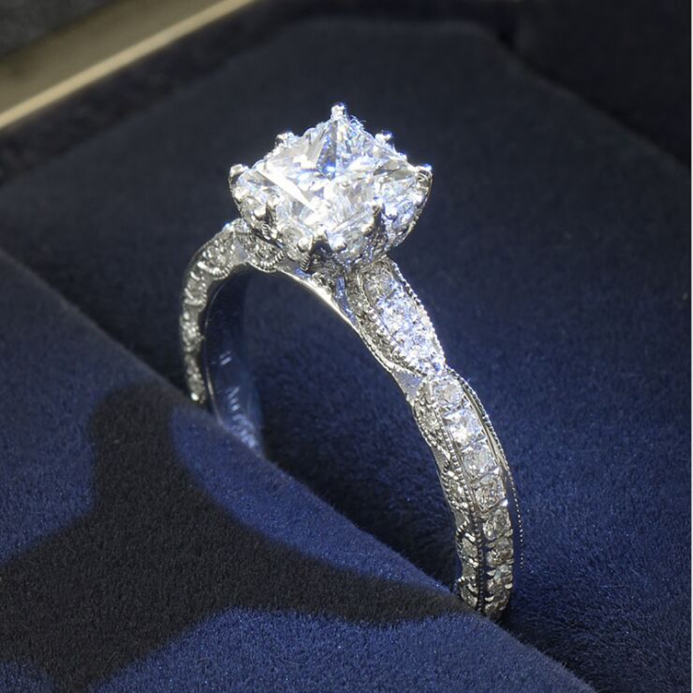 Foreign Sales Hot Models AAAAA CZ Stone Princess Square Cut Luxury Ring Wedding Dress Wedding Ring Gift