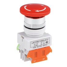 цена на UXCELL 22mm Switch Mounting Hole Latching Emergency Stop Push Button Switch Red With Waterproof Cover 1NO 1NC Switch Accessories
