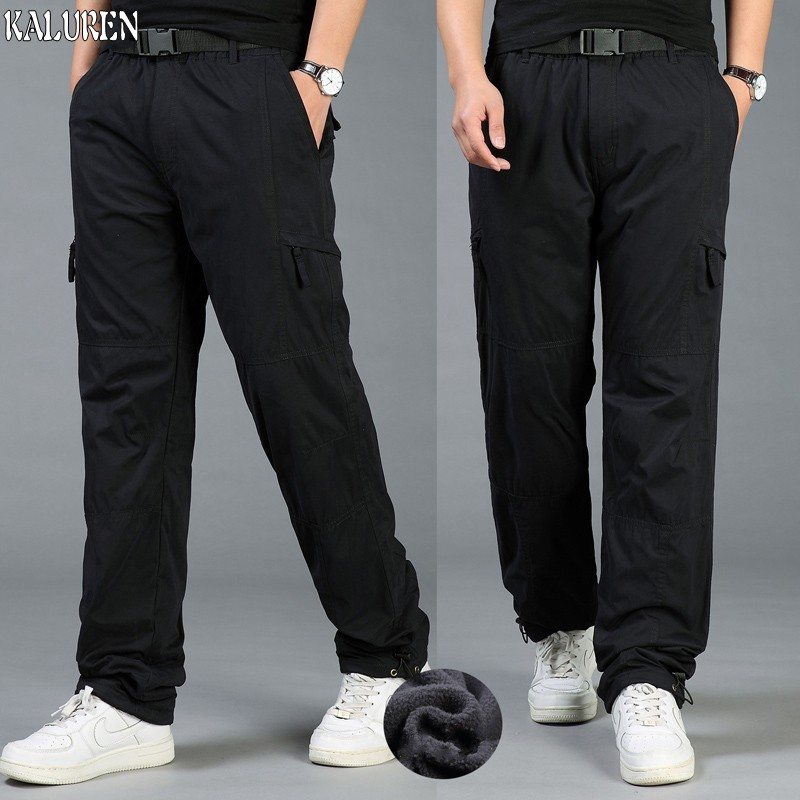 Free shipping winter loose M-5XL fleece cargo pants plus size trousers male elastic waist fat straight long trousers