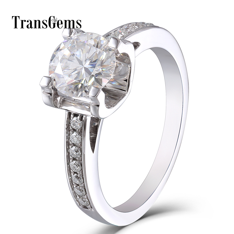 цена Solid 14K 585 White Gold 1 Carat ct Diameter 6.5mm F Color Lab Grown Moissanite Diamond Engagement Ring With Moissanite Accents