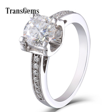 Solid 14K 585 White Gold 1 Carat ct Diameter 6.5mm F Color Lab Grown Moissanite Diamond Engagement Ring With Moissanite Accents helon vintage 0 5ct moissanite ring solid 14k rose gold 5mm round cut test positive lab grown moissanite diamond engagement ring