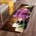 Еще свечи черные спа камни фиолетовые цветы 3d печать Нескользящая микрофибра моющийся длинный коврик коврики для прихожей