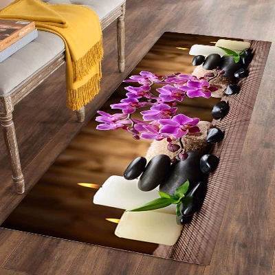 Else Candle Black Spa Stones Purple Flowers 3d Print Non Slip Microfiber Washable Long Runner Mat Floor Mat Rugs Hallway Carpets
