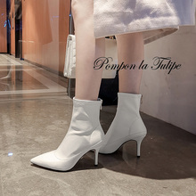 BHS 9011149 Chic Pointed Toe Leather 8CM Super High Thin Heel Stilettos Zipper Pigskin Lining Stylish Fashion Women Calf Boots