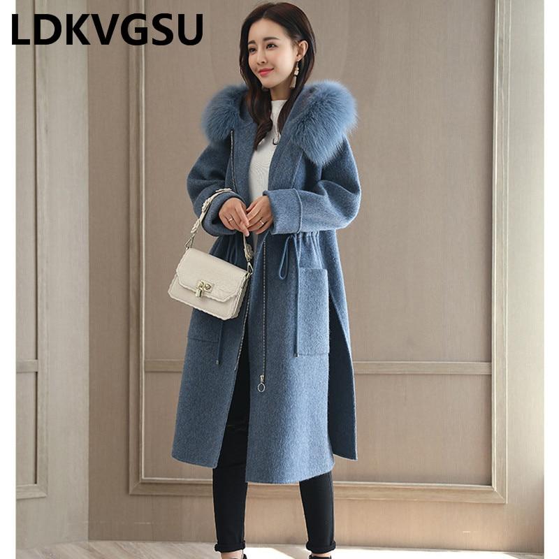 Long Woolen Coat Women Korean 2018 New Fur Collar Hooded Waist Woolen Coat Female Autumn Winter Split Pure Color Overcoat Is079