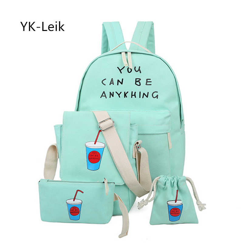 YK Leik 2017 Korean Style Fresh backpacks women High Quality Canvas College Printing Backpack mochila escolar