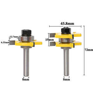 """Image 2 - 2 pc 8mm Shank high quality Tongue & Groove Joint Assembly Router Bit Set 3/4"""" Stock Wood Cutting Tool   RCT"""