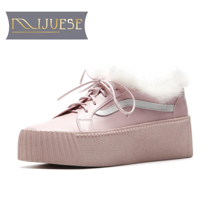 MLJUESE 2019 women ankle boots cow leather +Mane hair lace up pink color retro winter short plush platform boots women boots xml xm l т6 1200 лм привел велоспорт велосипед велосипед передней фары новых фар