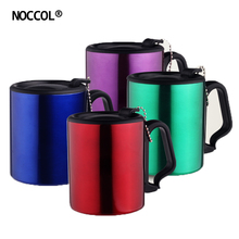 NOCCOL Fashion Colors Stainless Steel Coffee Cup Eco Friendly Home Office Drinkware Double Wall Water Tea Mugs With Handle Lid