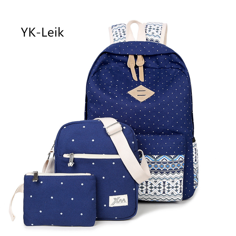 3 pieces / sets of backpacks 2017 fashion casual women dots backpack College style student school bags for teenagers girls