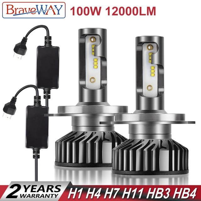 BraveWay H4 LED Bulb H1 H7 H8 H11 HB3 HB4 9005 9006 Car Light Bulbs H4 Headlight nebbia tetris lamp H7 LED Canbus for Moto Auto
