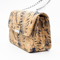 Natural cork fabric with feather Girl bodycross small bags women cork body cross vegan bag 296 A