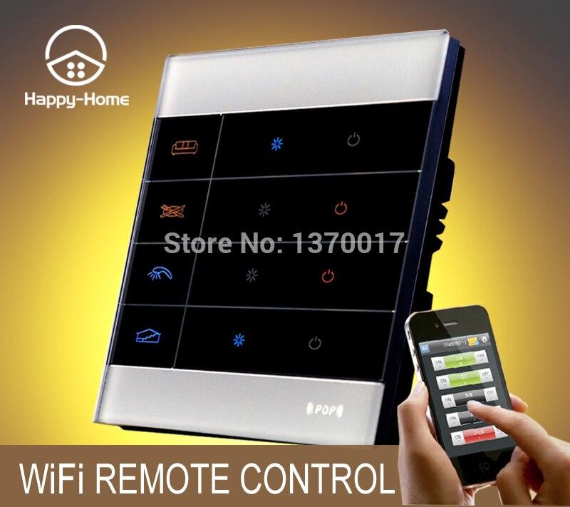 Interrupteur de télécommande sans fil Mobile en verre blanc Wllpad Android IOS, Gsm Zigbee commutateur de télécommande Wifi 4 gangs
