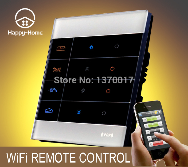 Wllpad White Glass Mobile Wireless remote control light switch Android IOS,Gsm Zigbee 4 Gang Wifi Remote control Switch
