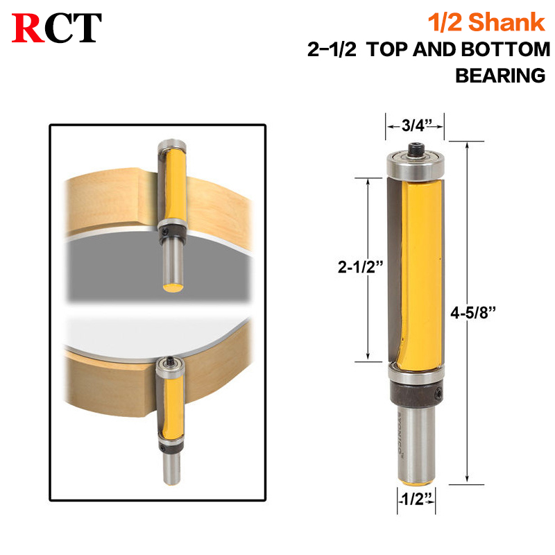 1pc 1/2 SH 2-1/2 Extra Long Trim Pattern Top&Bottom Bearins Router Bit RCT-16001 1 2