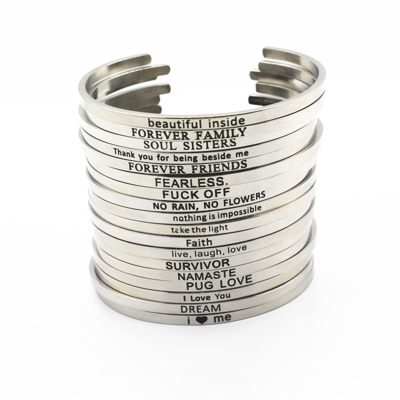 2017 New Stainless Steel Engraved Positive Inspirational Quote Hand Stamped Cuff Mantra Bracelet Bangle For Women Best Gifts