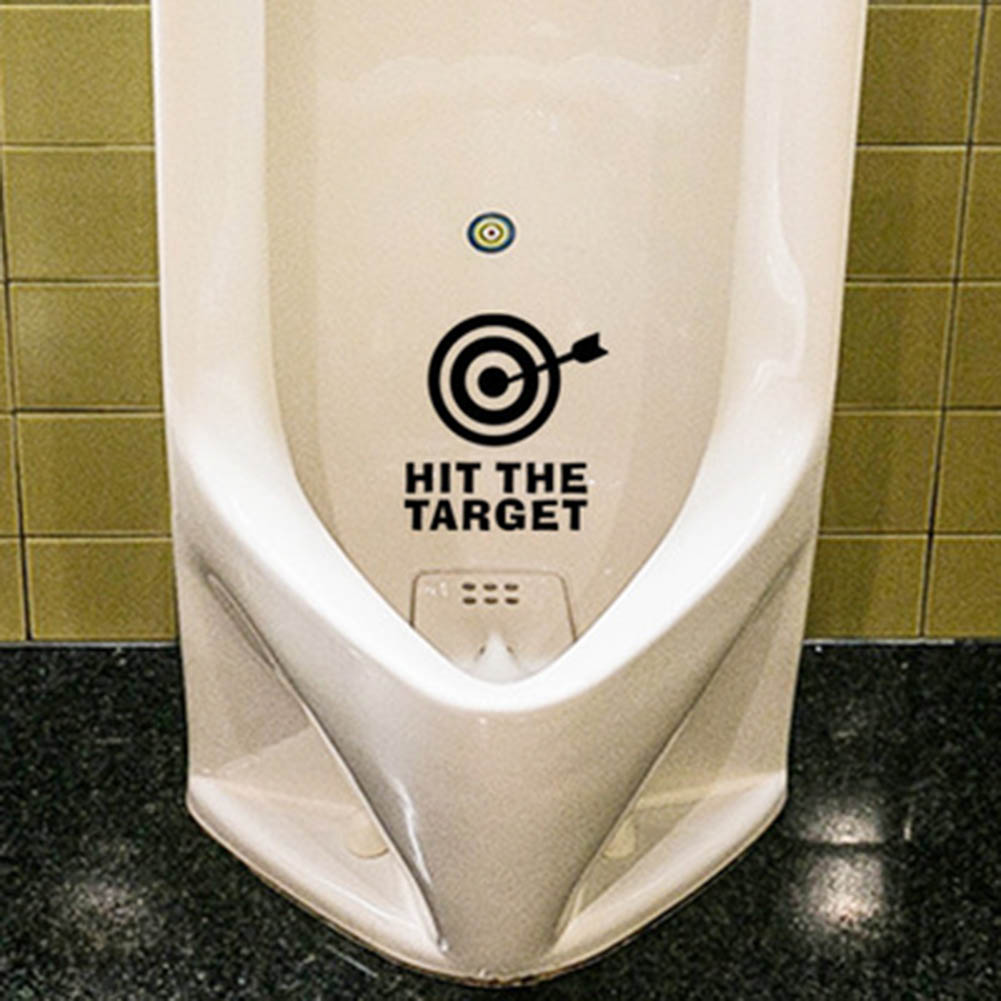 DIY Arrow& HIT THE TARGET Toilet Seat Bathroom Sticker waterproof letter remind funny toilet stickers hot selling Black