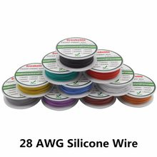 Cabo de silicone flexível 10m 28 awg, fio de cobre estanhado 1.2mm de 10 cores, rc fio elétrico