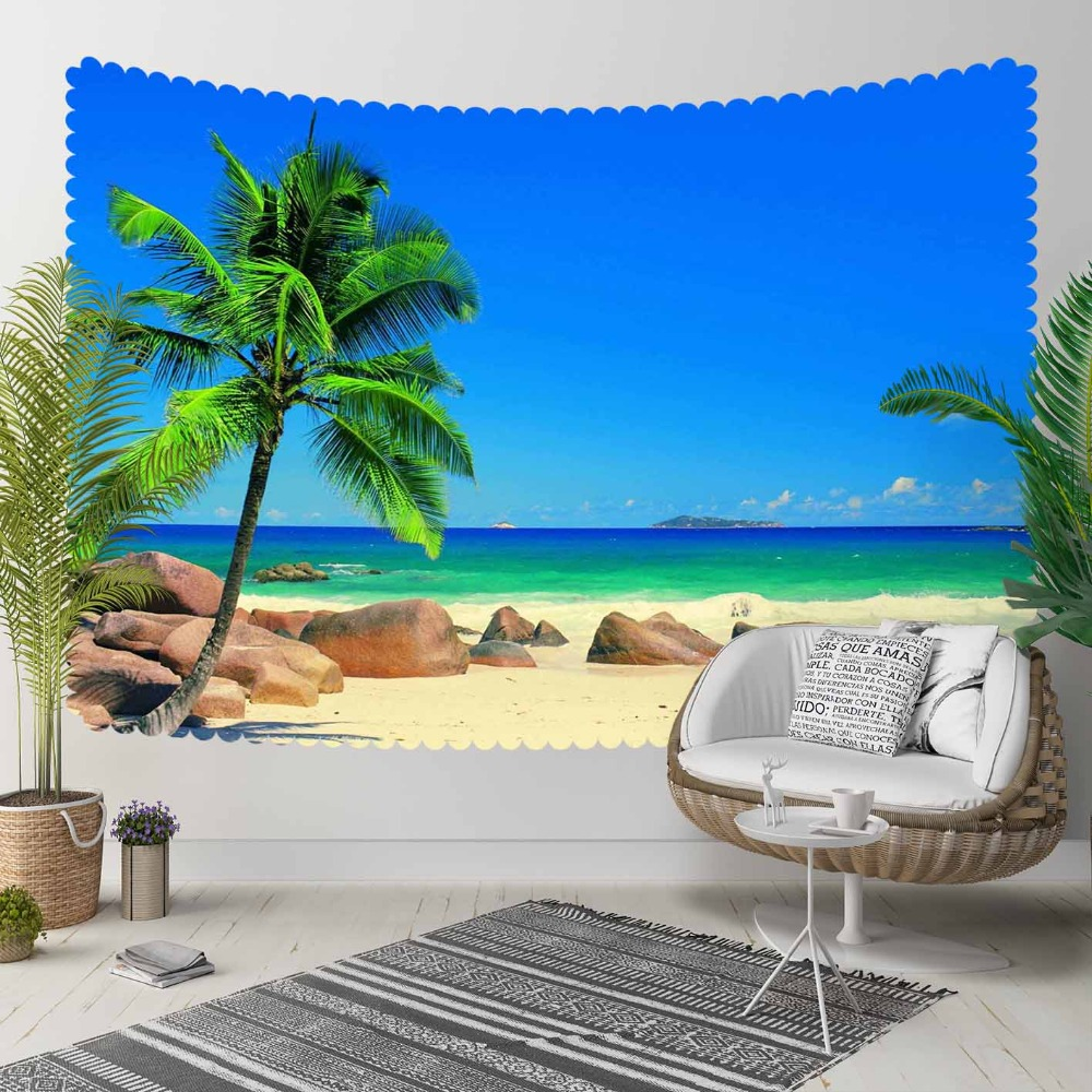 Else Sunny Green Palm Tree Brown Beach Sand Sea Side 3D Print Decorative Hippi Bohemian Wall Hanging Landscape Tapestry Wall Art