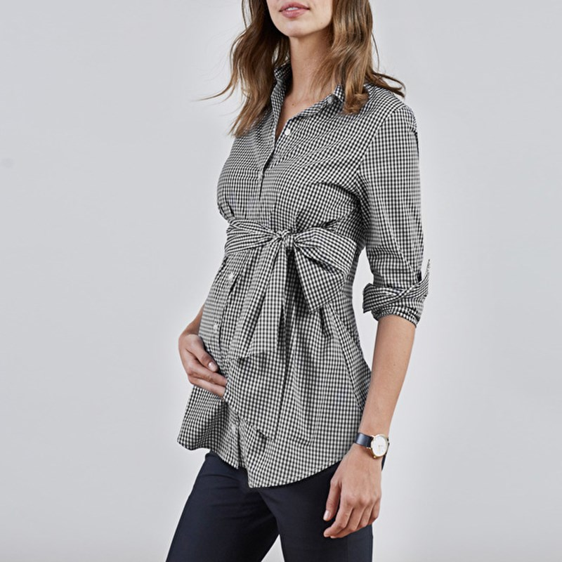 Maternity Clothings 2018 Spring Summer Pregnancy Women Plaid Shirts Lapel Long Sleeve Blouse Casual Office OL Tops Plus Size