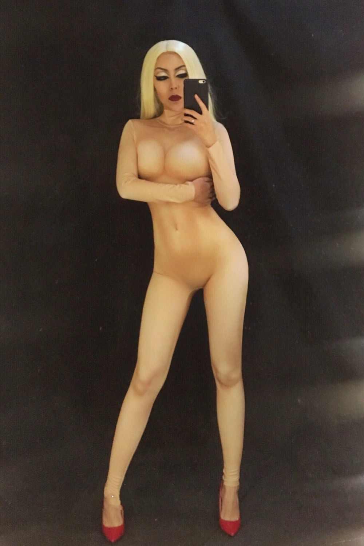 Телесный облегающий боди сексуальные леггинсы костюм цельная одежда для танцевального выступления женский для певицы для сцены большой стрейч бар комбинезон