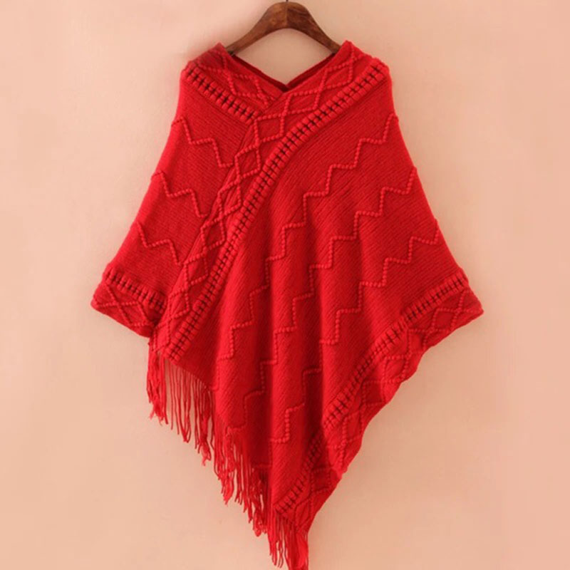2018 New Spring Autumn Loose Tassel Cloak Shawl Sweater Solid Color Pullover Knitted Coat Bat Shirt Female Large Size LD2