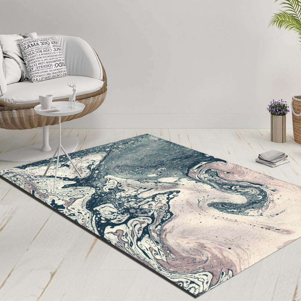 Else Blue Brown Gray Abstract Watercolor Decorative 3d Print Anti Slip Kilim Washable Decorative Kilim Rug Modern Carpet
