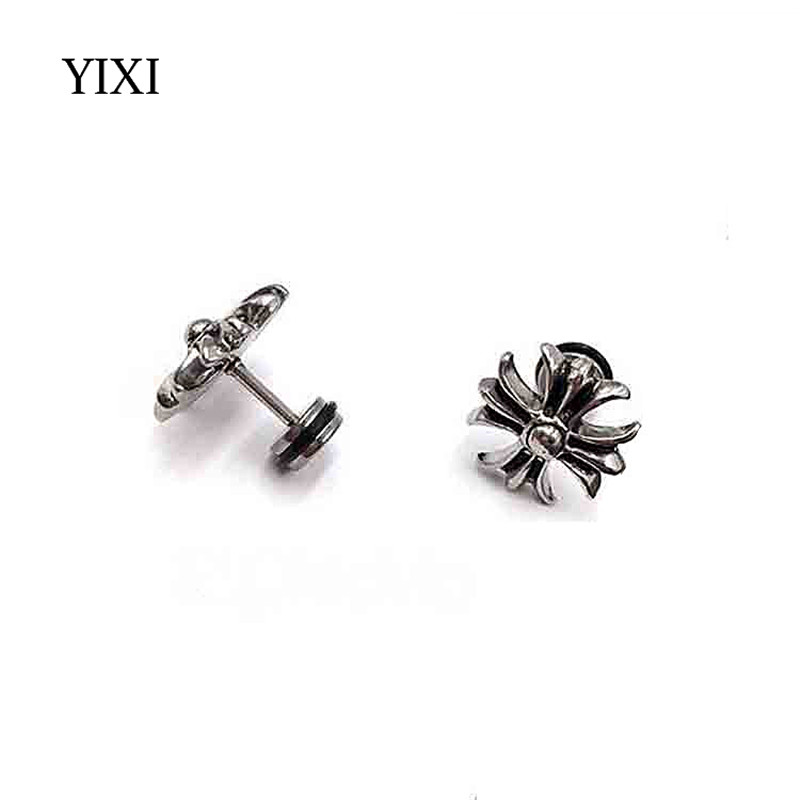 YIXI Antique Silver Gold Cross Earrings For Men Steampunk Surgical Stainless Steel Earring Studs Barbells Mens Boy Korean Brinco