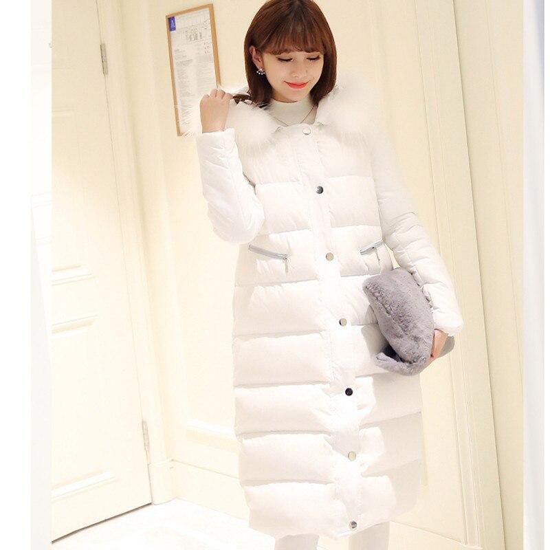 Femmes hiver coton veste Longue section à capuchon de survêtement de haute qualité col de fourrure chaud épais Parka Pardessus femelle