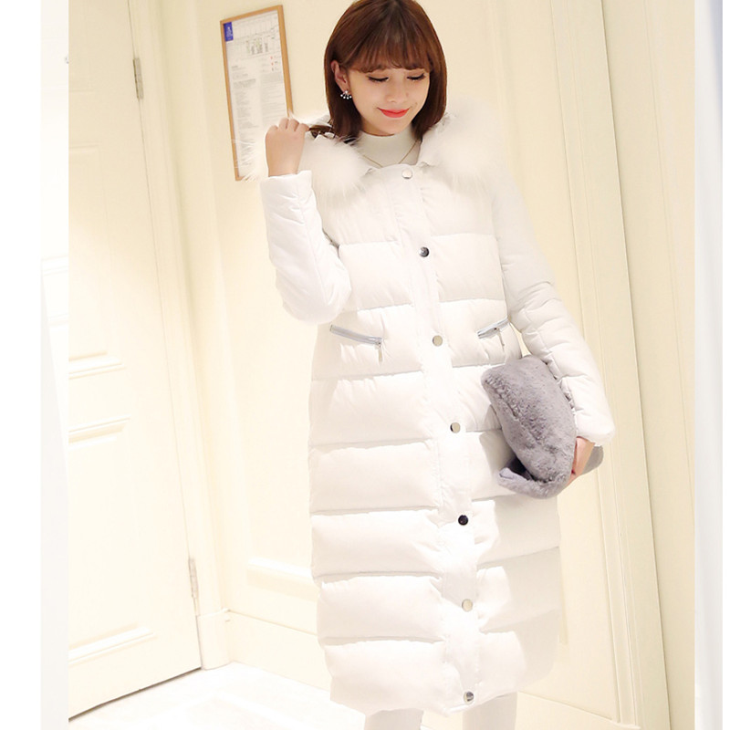 Women's winter cotton jacket Long section hooded outerwear high quality fur collar thick warm   Parka   Overcoat female