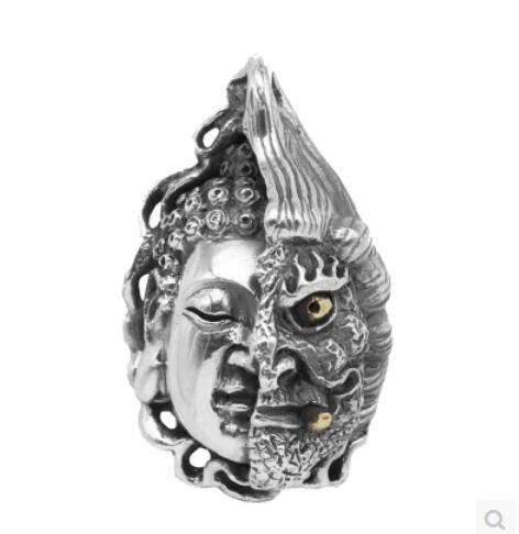 Pur argent demi bouddha magique pendentif personnalité mal Thai prière argent pendentif rétro hommes mode bijoux