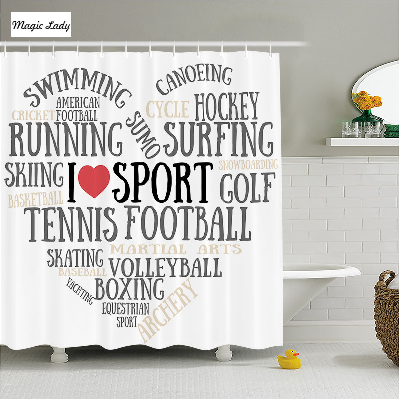Shower Curtain Bathroom Accessories Sports Love Heart Shape Running Canoeing Skiing Black White Red 180 200 Cm In Curtains From Home Garden On