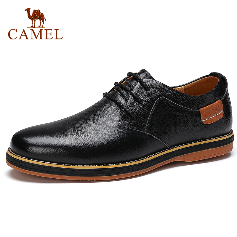 CAMEL Men s Shoes Autumn Winter Genuine Leather Casual Shoes Lace up British Business Black Youth