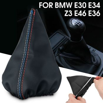 Gear Shift Knob Boot Gear Lever Gaiter Cover PU Leather For BMW E30 E34 Z3 E46 E36 image