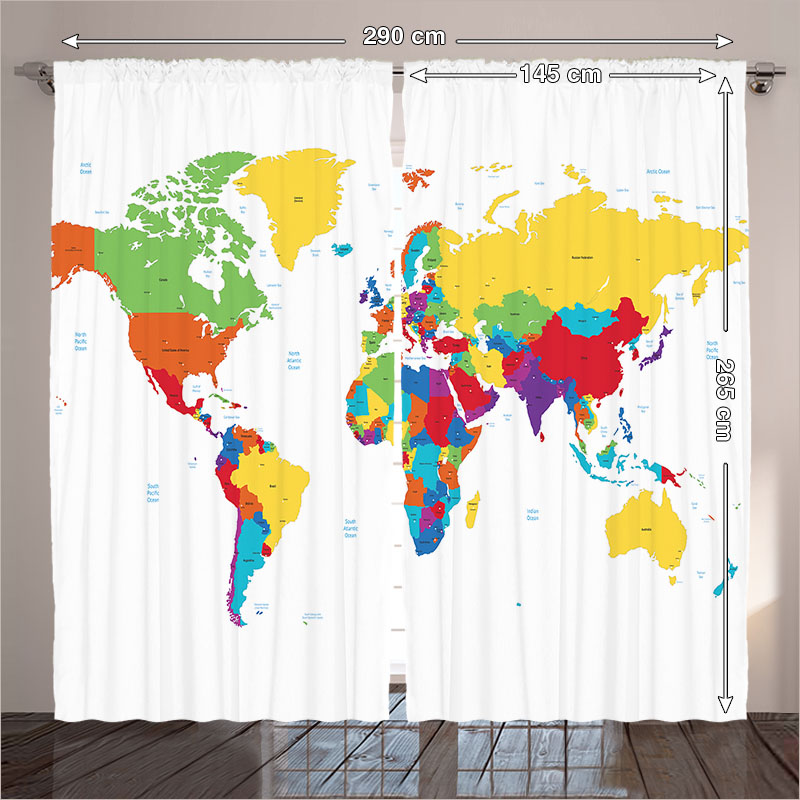 Curtains modern designs living room bedroom world map countries curtains modern designs living room bedroom world map countries continents oceans geography white 290x265 cm home in curtains from home garden on gumiabroncs Gallery