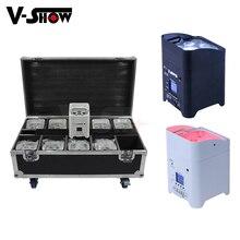 10Pcs Met Case Led Batterij Uplight 6X18W Rgbwauv 6in1 Draadloze Dmx Wifi Afstandsbediening Dj Par geluid Party Verlichting Voor Bruiloft