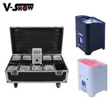 10pcs With Case Led Battery Uplight 6x18w RGBWAUV 6in1 Wireless DMX Wifi Remote Control Dj Par Sound Party Lights For Wedding