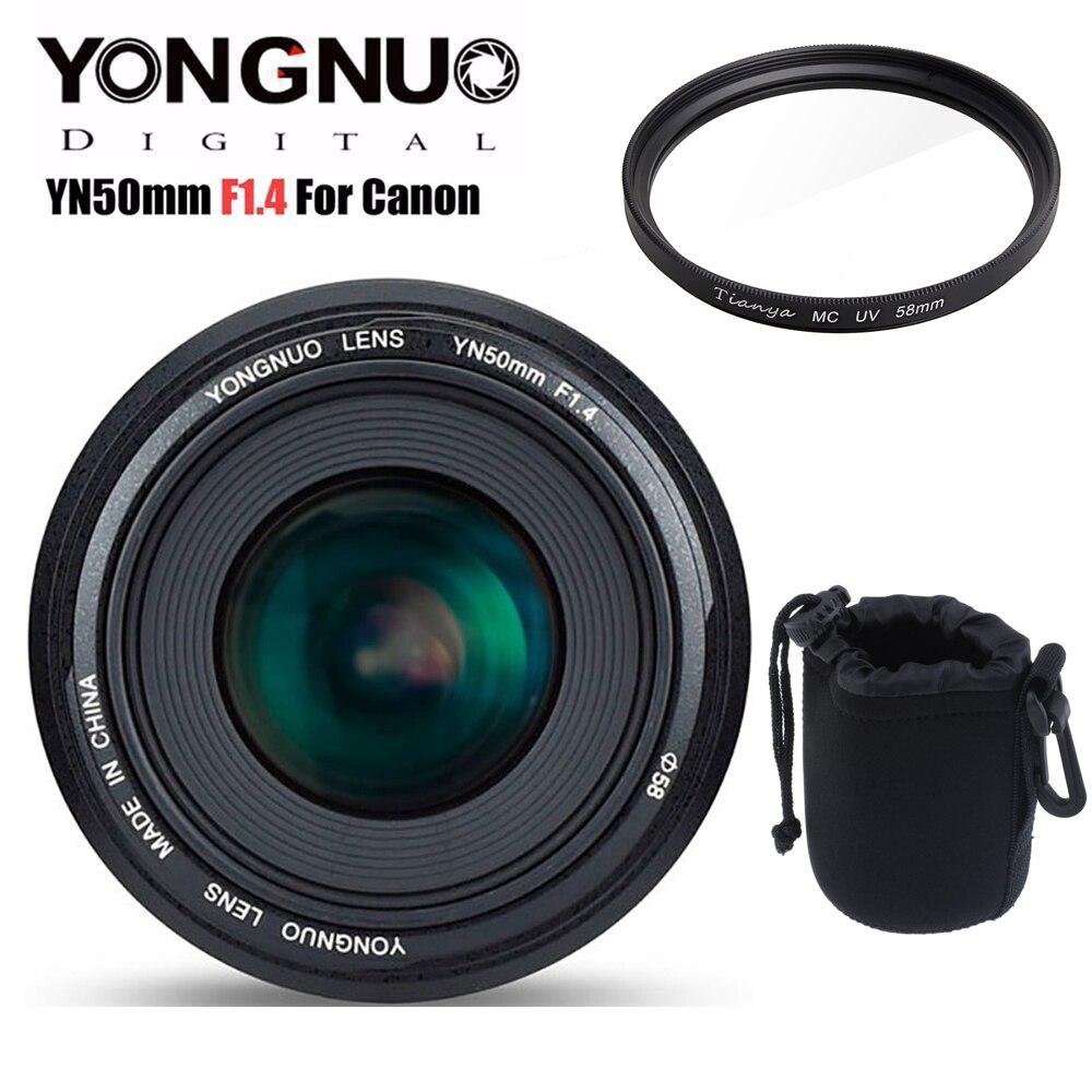 YONGNUO YN50mm 50mm F1.4 Objectif Standard Premier Grande Ouverture Auto Focus Lens pour Canon EOS 6D 70D 5D2 5D3 600D 60D DSLR Caméra