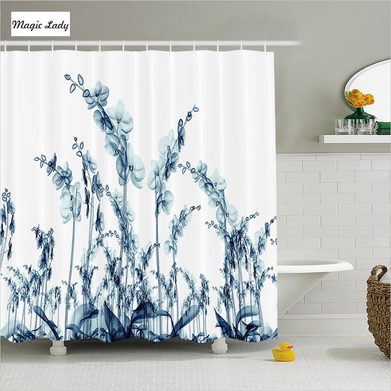 Shower curtain flower bathroom accessories modern for Floral bath accessories