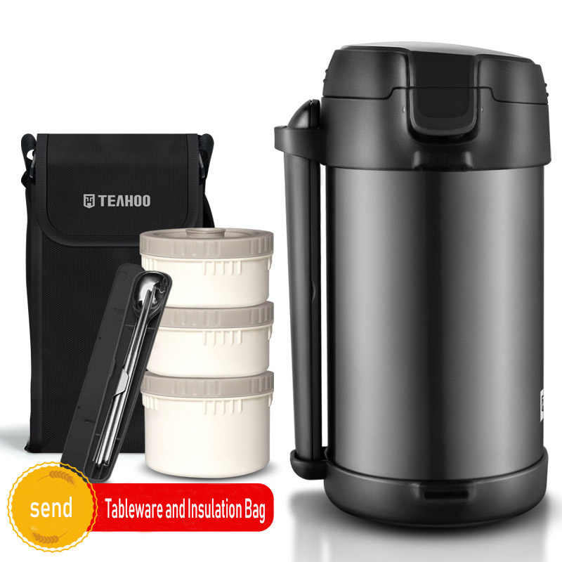 2.2L Double Stainless Steel Inner Vacuum Flasks Food Container Thermos 3-layers Lunch Box with Bag For Adult Heated Bento Box