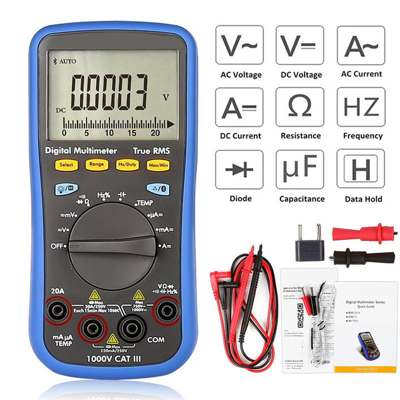 New Multimeter Digital Bluetooth Multimeter Function as 3 in 1 Multi-connection Supported Mobile App B41T Plus Multimeter 3 in 1 lcd digital multimeter green 9v 1 x 6f22