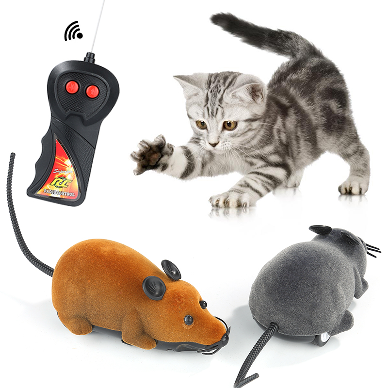 New 8 Colors Lodrat Lodra Cat Kontrolli i largët Simulimi Wireless Plush Mouse RC Elektronike miu Mouse Miu Lodra Për Cat Cat Mouse Toy