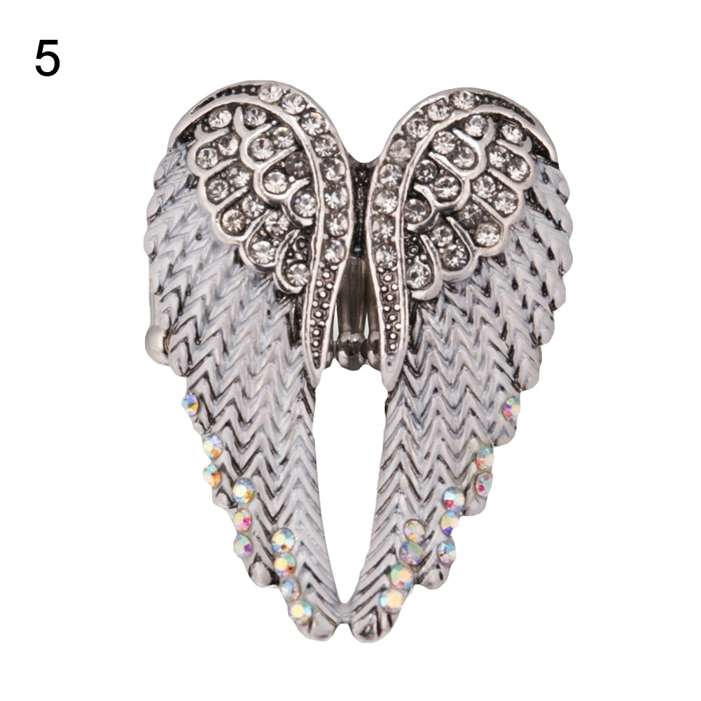 Lady Fashion Multicolor Rhinestone Wings of Angel Charm Ring Finger Jewelry Gift