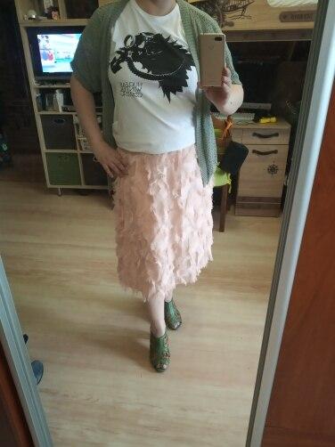 Spring Summer Bubble Tulle Tassel Skirt Women Tulle Skirts Female Tutu Skirts Pleated Skirt Black White Pink photo review
