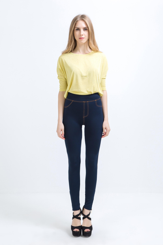 2019 Mulheres de Moda de Nova Clássico imitação Jean Stretchy Leggings Magro Sexy Skinny Jeggings Calças Skinny hot sale OEMEN LR671-1