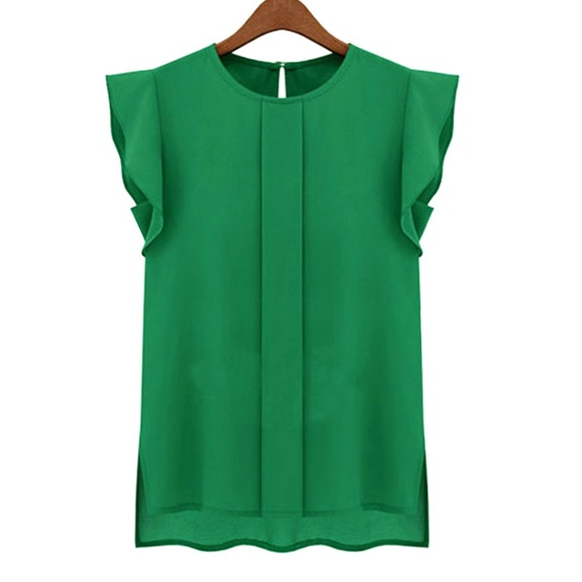 57c730fe675 Venta caliente nuevo estilo de gasa blusas dama cuello redondo con volantes  manga después de la